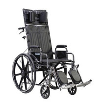 Drive STD20RBDDA Sentra Reclining Wheelchair with Various Arm Styles and Elevating Legrest, Chrome, 20""