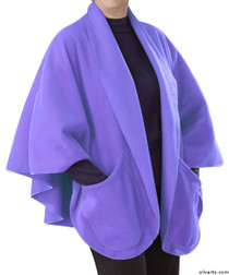 Silvert's 302431601 Womens Stylish Cozy Two Pocket Fleece Cape, Size ONE, LAVENDER