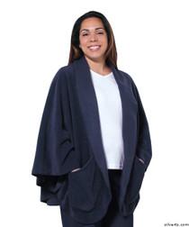 Silvert's 302431201 Womens Stylish Cozy Two Pocket Fleece Cape, Size ONE, NAVY