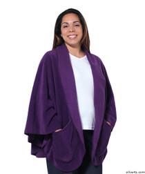Silvert's 302430801 Womens Stylish Cozy Two Pocket Fleece Cape, Size ONE, PLUM