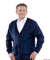 Silvert's 503700202 Cardigan Sweater For Men With Pockets , Size Medium, NAVY