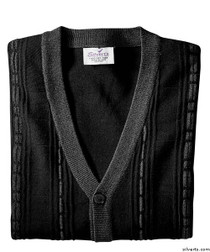 Silvert's 503700103 Cardigan Sweater For Men With Pockets , Size Large, BLACK