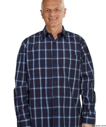 Silvert's 504000501 Mens Regular Sport Shirt with Long Sleeve, Size Small, NAVY PLAID