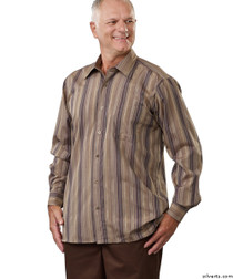 Silvert's 504000304 Mens Regular Sport Shirt with Long Sleeve, Size X-Large, BROWN STRIPE