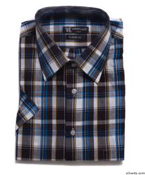 Silvert's 504102002 Men's Regular Short Sleeve Sport Shirt, Size Small, NAVY CHECK
