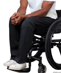 Silvert's 509400204 Fleece Adaptive Wheelchair Pants For Men , Size Large, BLACK