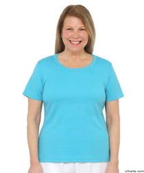 Silvert's 131500101 Womens Short Sleeve Crew Neck T Shirt, Size Small, AQUA