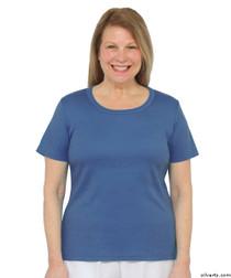 Silvert's 131500301 Womens Short Sleeve Crew Neck T Shirt, Size Small, MIDNIGHT BLUE