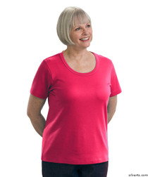 Silvert's 131500202 Womens Short Sleeve Crew Neck T Shirt, Size Medium, FUSCHIA