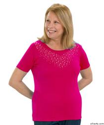 Silvert's 131900202 Stylish Cotton Short Sleeve Tee Shirt, Size Medium, FUSCHIA