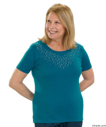 Silvert's 131900305 Stylish Cotton Short Sleeve Tee Shirt, Size 2X-Large, TURQUOISE