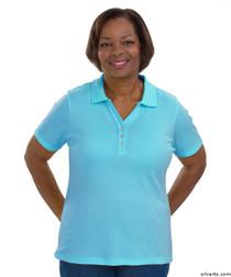 Silvert's 132100102 Short Sleeve Polo Style Tshirt, Size Medium, AQUA