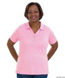 Silvert's 132100303 Short Sleeve Polo Style Tshirt, Size Large, PASTEL PINK