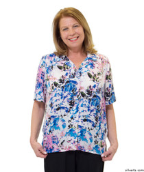 Silvert's 132500103 Womens Regular Short Sleeve Blouse , Size 14, HAWAIIAN BLUE