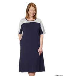 Silvert's 200600201 Ladies Casual Adaptive Back Snap Dress , Size Small, NAVY
