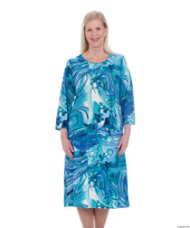 Silvert's 200600403 Ladies Casual Adaptive Back Snap Dress , Size Large, TURQUOISE (Silvert's 200600403)