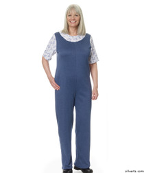 Silvert's 233200204 Womens Adaptive Alzheimer's Clothing Antistrip Suits Pajamas , Size Large, DENIM
