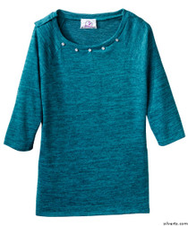 Silvert's 235100203 Lovely Adaptive Top For Women, Size Large, TEAL