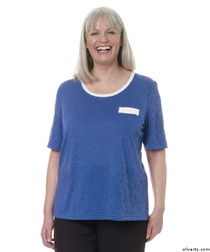 Silvert's 236600303 Womens Adaptive Crew Neck Tshirt , Size Large, COBALT