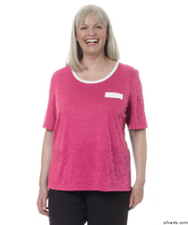 Silvert's 236600103 Womens Adaptive Crew Neck Tshirt , Size Large, RASPBERRY