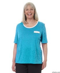 Silvert's 236610201 Womens Adaptive Crew Neck Tshirt , Size 2X-Large, TURQUOISE