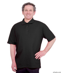 Silvert's 504300404 Mens Regular Knit Polo Shirt, Short Sleeve, Size X-Large, BLACK