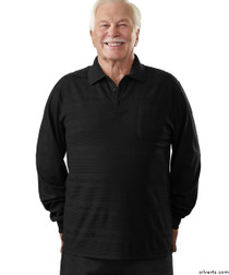 Silvert's 504800102 Mens Regular Long Sleeve Polo Jersey Shirt Top, Size Medium, BLACK