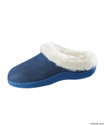 Silvert's 100500202 Womens Narrow Slip On Fur Slip Resistant Slippers , Size Medium, NAVY