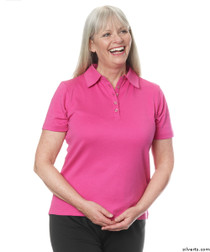 Silvert's 136600103 Womens Polo Shirt For Seniors , Size Large, MAGENTA
