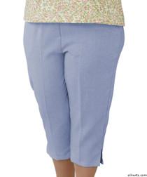 Silvert's 233500103 Womens Open Side Arthritis Adaptive Capris , Size Large, CHAMBRAY