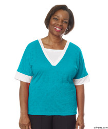 Silvert's 236400201 Womens Adaptive V Neck Tshirt , Size Small, TURQUOISE