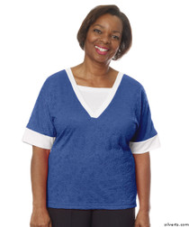 Silvert's 236400302 Womens Adaptive V Neck Tshirt , Size Medium, COBALT