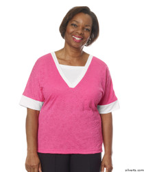 Silvert's 236400103 Womens Adaptive V Neck Tshirt , Size Large, RASPBERRY
