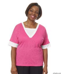 Silvert's 236410102 Womens Adaptive V Neck Tshirt , Size 3X-Large, RASPBERRY