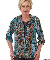 Silvert's 242300402 Womens Adaptive Open Back Fooler Blouse , Size Medium, TEAL MOSAIC