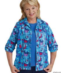 Silvert's 242300102 Womens Adaptive Open Back Fooler Blouse , Size Medium, BLUE