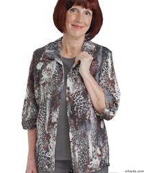 Silvert's 242300302 Womens Adaptive Open Back Fooler Blouse , Size Medium, LEOPARD