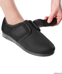 Silvert's 100400107 Womens Size 12 Comfortable Indoor/outdoor Shoe Slippers With Adjustable Closures, Size 11, BLACK