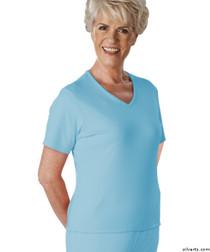 Silvert's 133600101 Womens Regular Summer V Neck T Shirt, Short Sleeve, Size Small, BLUE BELL