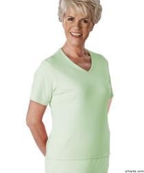 Silvert's 133600401 Womens Regular Summer V Neck T Shirt, Short Sleeve, Size Small, MINT