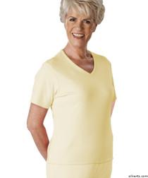Silvert's 133600302 Womens Regular Summer V Neck T Shirt, Short Sleeve, Size Medium, BUTTERCUP