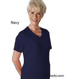 Silvert's 133600203 Womens Regular Summer V Neck T Shirt, Short Sleeve, Size Large, NAVY