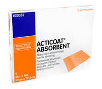 "Smith and Nephew 20381 Acticoat Absorbent Antimicrobial Dressing, 4"" x 5"", 5/BX"
