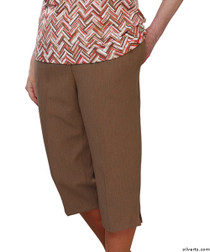 Silvert's 233400801 Womens Adaptive Capri Pants , Size Small, COCOA