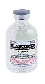 Hospira 6648050 Caloric Agent Dextrose / Water 50% Intravenous IV Solution Single Dose Vial 50 mL