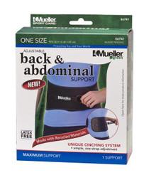 Mueller 86741 Adjustable Back & Abdominal Support, Black, One Size Fits Most (Mueller 86741)