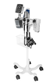 Amico DS-UR1-CLFL-DAO Rollstand-Mounted Diagnostic Station with Ophthalmoscope, Otoscope, Specula Dispenser, Aneroid, Oral Thermometer