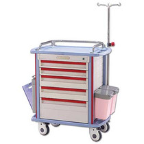 "Solic F45-1 EMS CRASH CART WITH 5 DRAWERS 32""L, 19.8""W, 36.8""H. RED/BEIGE"
