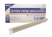 "COTTON TIP APPLICATORS 6"", Wooden Stick, STERILE, 200/bx"