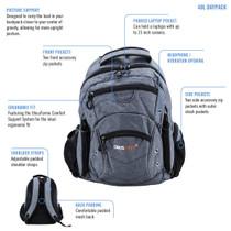 ObusForme® OB-381GRA Bora - 40L Daypack,Laptop Pocket, Comfort Support System